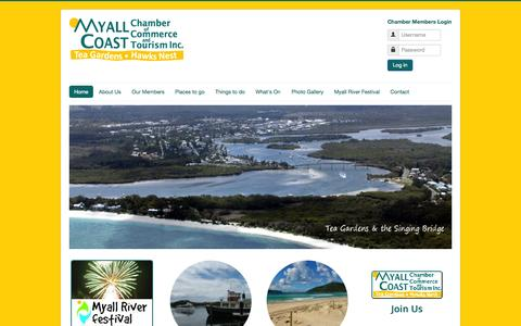 Screenshot of Home Page myallcoast.org.au - Home - Myall Coast Chamber of Commerce and Tourism Inc - captured Oct. 7, 2014