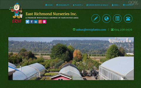 Screenshot of Services Page erniplants.com - Wholesale Plants Supply, Delivery Services, Nursery Training, Vancouver Area, British Columbia - captured Sept. 26, 2018