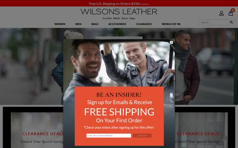 Screenshot of Home Page wilsonsleather.com - Wilsons Leather - Men's and Women's Leather Jackets, Leather Coats, Handbags, Hats, Gloves, Wallets, Briefcases and Travel Items                                           - Wilsons Leather - captured Jan. 13, 2019