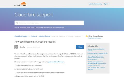 Screenshot of Support Page cloudflare.com - How can I become a Cloudflare reseller? – Cloudflare Support - captured Oct. 10, 2017