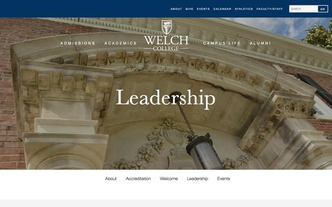 Screenshot of Team Page welch.edu - Leadership | Welch College - captured April 26, 2016