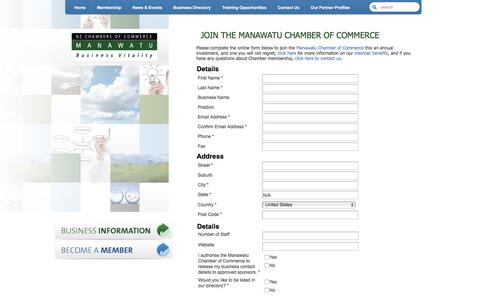 Screenshot of Signup Page reservesecure.com - Join the Manawatu Chamber of Commerce | Manawatu Chamber of Commerce | Manawatu Business Advocates - captured Nov. 19, 2016