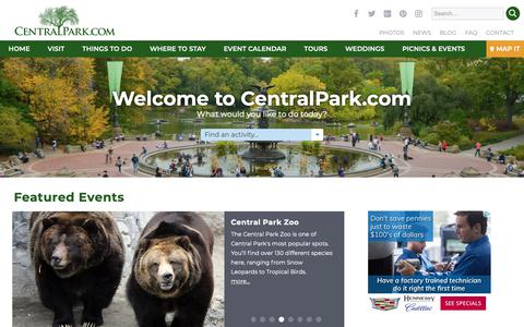 Screenshot of Home Page centralpark.com - Your Complete Guide to New York City's Central Park - captured Sept. 27, 2018