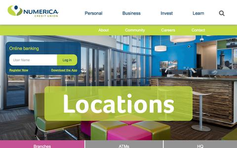 Screenshot of Locations Page numericacu.com - Locations   Numerica Credit Union - captured July 1, 2018