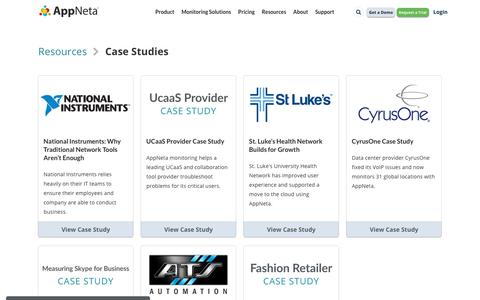 Screenshot of Case Studies Page appneta.com - Case Studies for Network Performance Management | AppNeta - captured June 27, 2019