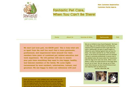 Screenshot of Testimonials Page pawtasticmn.com - Pawtastic! Pet Care, LLC - Testimonials - captured Sept. 27, 2018