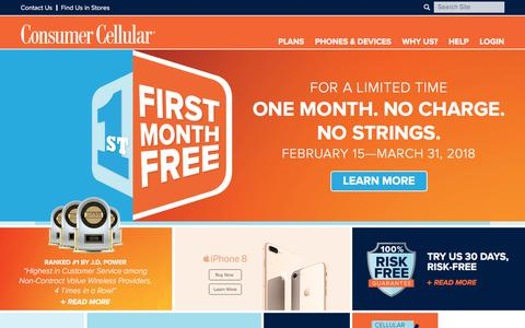 Screenshot of Home Page consumercellular.com - Consumer Cellular - The Best No Contract Cellphones and Cellphone Plans - captured Feb. 20, 2018