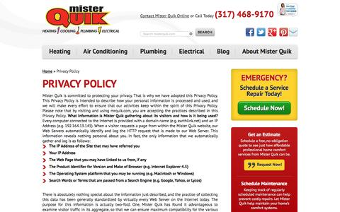 Screenshot of Privacy Page mrquikhomeservices.com - Privacy Policy | Indianapolis Plumbing | Mr Quik - captured Nov. 29, 2016