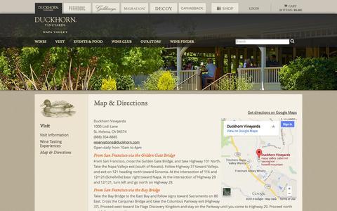 Screenshot of Maps & Directions Page duckhorn.com - Duckhorn Vineyards - Visit - Map and Directions - captured Sept. 25, 2014