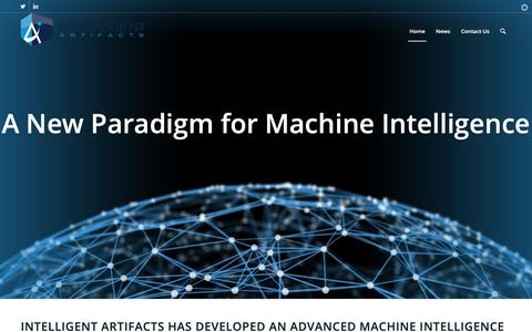 Screenshot of Home Page intelligent-artifacts.com - Intelligent Artifacts – Universal Intelligence - captured April 20, 2019