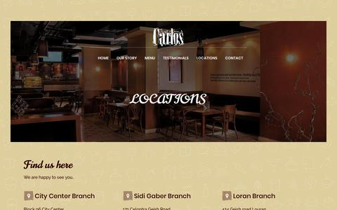 Screenshot of Locations Page carloscafe.com - LOCATIONS – Carlos - captured Sept. 27, 2018