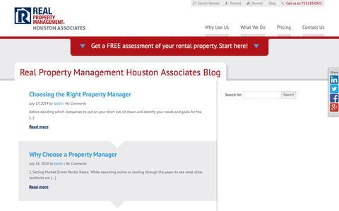 Screenshot of Blog rpmhoustonassociates.com - Houston TX Property Management Blog   Real Property Management Houston Associates - captured Feb. 14, 2016