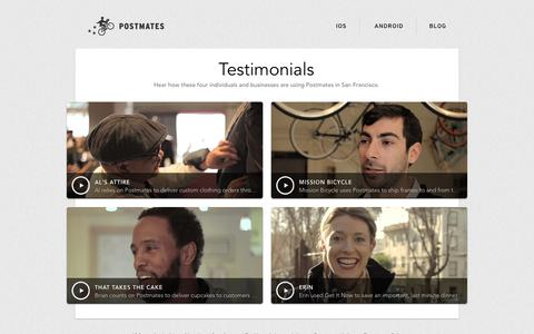 Screenshot of Testimonials Page postmates.com - Testimonials - Postmates - captured Sept. 19, 2014