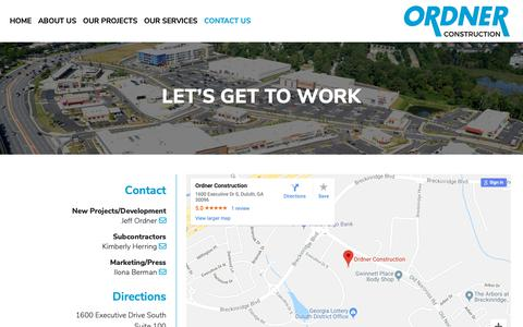 Screenshot of Contact Page ordner.com - Contact Us | Ordner Construction - captured Oct. 18, 2018