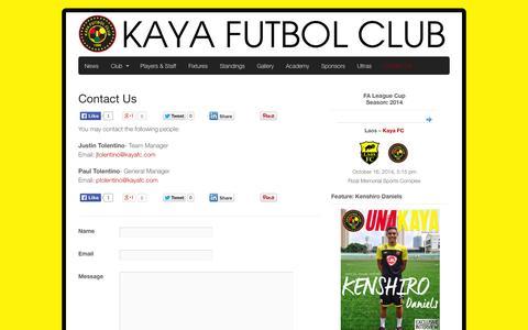 Screenshot of Contact Page kayafc.com - Contact Us | Kaya Futbol Club - captured Oct. 6, 2014