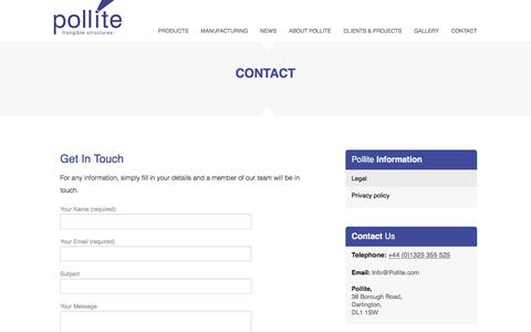 Screenshot of Contact Page pollite.com captured July 19, 2018