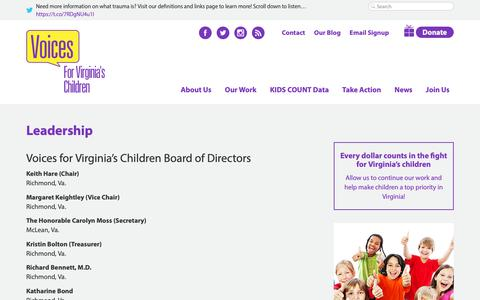 Screenshot of Team Page vakids.org - Leadership - Voices for Virginia's Kids Voices for Virginia's Children - captured Oct. 18, 2018