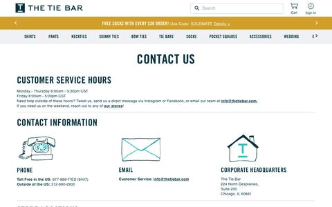 Screenshot of Contact Page thetiebar.com - Contact & Customer Service Info | The Tie Bar - captured Feb. 11, 2020