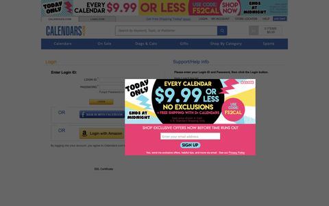 Screenshot of Login Page calendars.com - Login | Buy Calendars Online | Calendars.com - captured Nov. 9, 2018