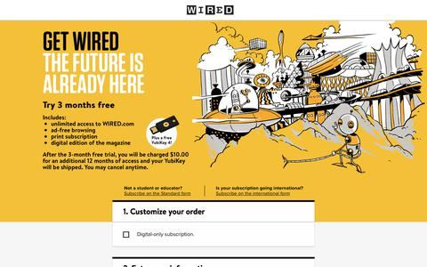 Screenshot of Landing Page wired.com - WIRED Student Subscription - captured Feb. 23, 2018
