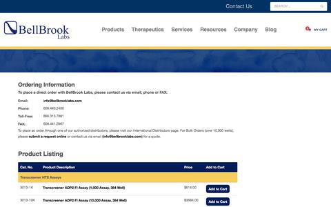 Screenshot of Products Page bellbrooklabs.com - Product Listing – Order Information | BellBrook Labs - captured Aug. 1, 2018