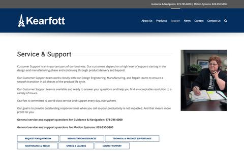 Screenshot of Support Page kearfott.com - Support - Kearfott - captured Oct. 15, 2018