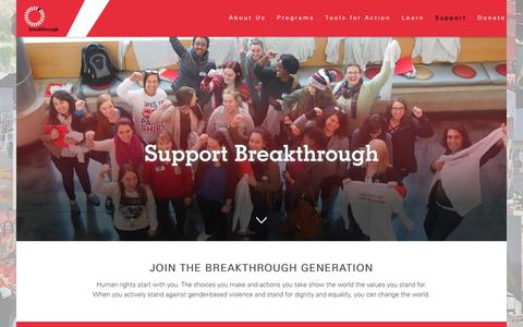 Screenshot of Support Page breakthrough.tv - Support Breakthrough - Breakthrough U.S. - captured Oct. 6, 2018