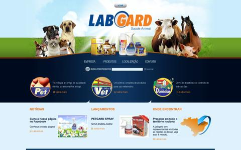 Screenshot of Home Page labgard.com.br - Famacêutica Industrial LabGard  - Saúde Animal - captured Sept. 27, 2014