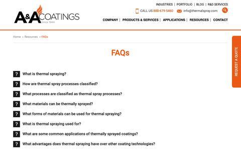 Screenshot of FAQ Page thermalspray.com - Thermal Spray Coatings FAQs | A&A Thermal Spray Coatings - captured Sept. 30, 2018