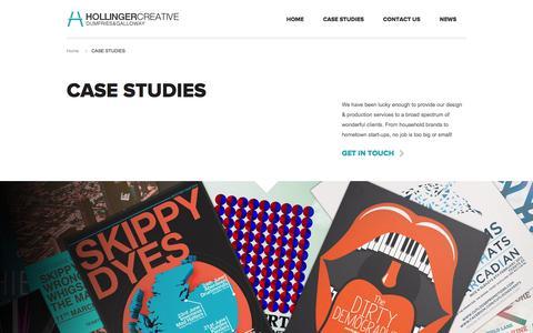 Screenshot of Case Studies Page hollingercreative.com - CASE STUDIES - Web Design Dumfries | Graphic Design Dumfries | Animation & Video Production Dumfries - captured Oct. 3, 2014
