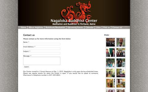 Screenshot of Contact Page nagalokabuddhistcenter.org - Nagaloka » Contact us » Meditation and Buddhism in Portland, Maine - captured April 1, 2018