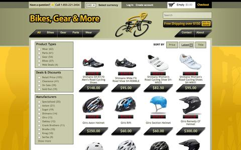 Screenshot of Products Page bikesgearmore.com - Sale & Clearance Bikes, Cycling Gear, Parts, and Clothing - captured Sept. 30, 2014