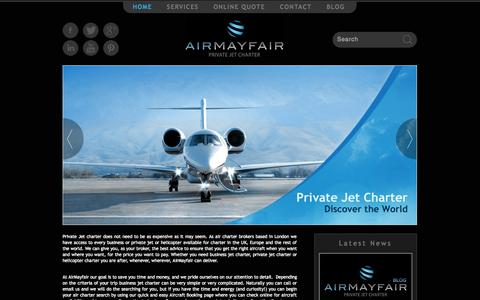 Screenshot of Home Page airmayfair.com - Private Jet Hire | Air Charter | Business Jet Charter - AirMayfair - captured Sept. 30, 2014