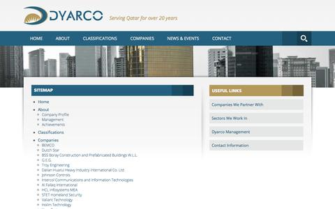 Screenshot of Site Map Page dyarcointernational.com - Dyarco International :: Sitemap - captured Oct. 5, 2014