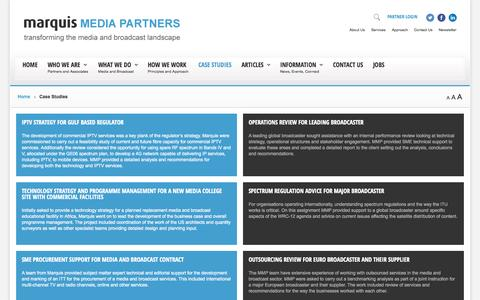 Screenshot of Case Studies Page marquismediapartners.com - MMP | Case Studies - captured Oct. 27, 2014