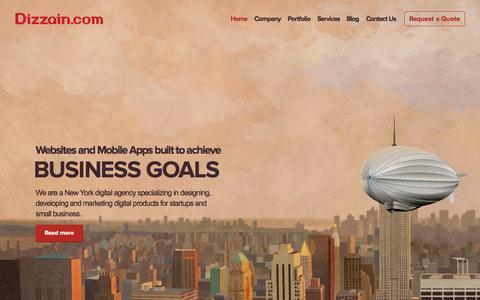 Screenshot of Home Page dizzain.com - New York Web Design Company, Web Development in NY - Dizzain.com - captured Sept. 6, 2015