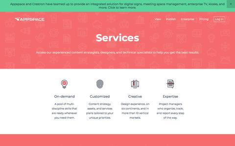 Screenshot of Services Page appspace.com - Services — Appspace | Digital Signage, IPTV, Video Walls, Kiosks, Room Management, and Mobile. - captured Feb. 12, 2018