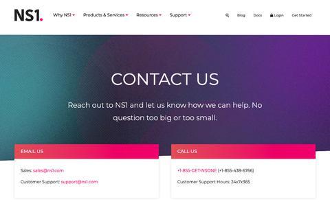 Screenshot of Contact Page ns1.com - Contact Us - captured Jan. 18, 2019