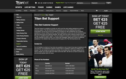 Screenshot of Support Page titanbet.com - Titan Bet Sportsbook Betting Assistance and Technical Support - captured Sept. 18, 2014