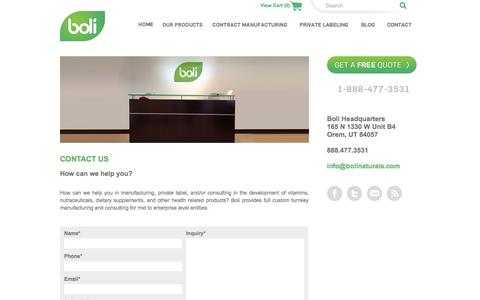 Screenshot of Contact Page bolinaturals.com - Magento Commerce - captured Nov. 14, 2015