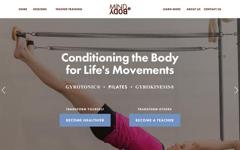 Screenshot of Home Page mind2body.net - Mind 2 Body™ Pilates Studio - captured Oct. 19, 2018