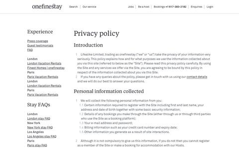 Screenshot of Privacy Page onefinestay.com - Privacy policy | onefinestay - captured Dec. 30, 2015