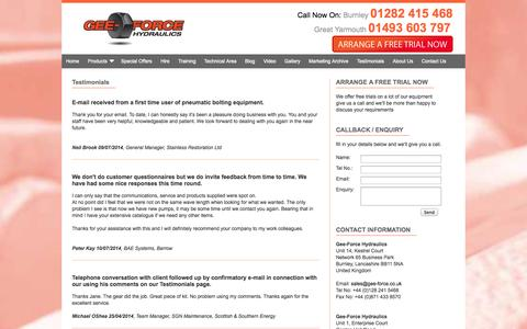 Screenshot of Testimonials Page gee-force.co.uk - Gee-Force Testimonials | Hydraulic Torque Wrench Hire UK - captured Oct. 2, 2014