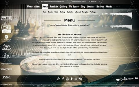 Screenshot of Menu Page esstudio.com.au - esstudio menu  | Esstudio Galleria - captured Jan. 31, 2016