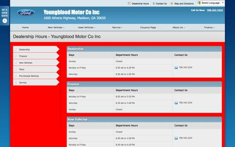 Screenshot of Hours Page youngbloodmotor.com - Dealership Hours at Youngblood Motor Co Inc - Your Madison, Georgia Ford dealer - captured June 24, 2016