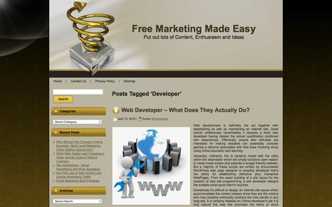Screenshot of Developers Page freemarketingmadeeasy.com - Developer | Free Marketing Made Easy - captured Aug. 4, 2016