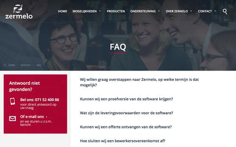Screenshot of FAQ Page zermelo.nl - FAQ - Zermelo - captured Nov. 5, 2017