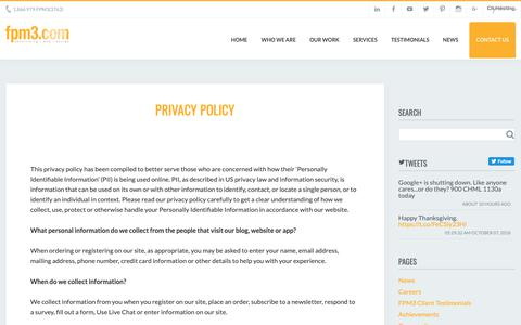Screenshot of Privacy Page fpm3.com - FPM Marketing & Design Privacy Policy - captured Oct. 10, 2018