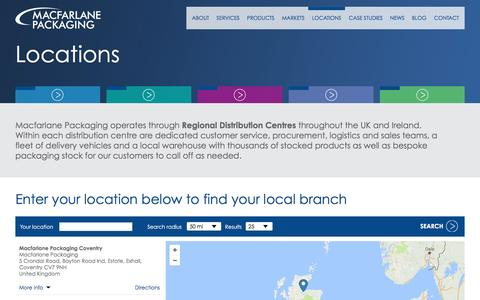 Screenshot of Locations Page macfarlanepackaging.com - Locations Nationwide – Macfarlane Packaging - captured May 27, 2017