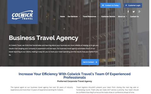 Screenshot of Support Page colwick.com - Business Travel Agency – Colwick Travel - captured Jan. 30, 2016